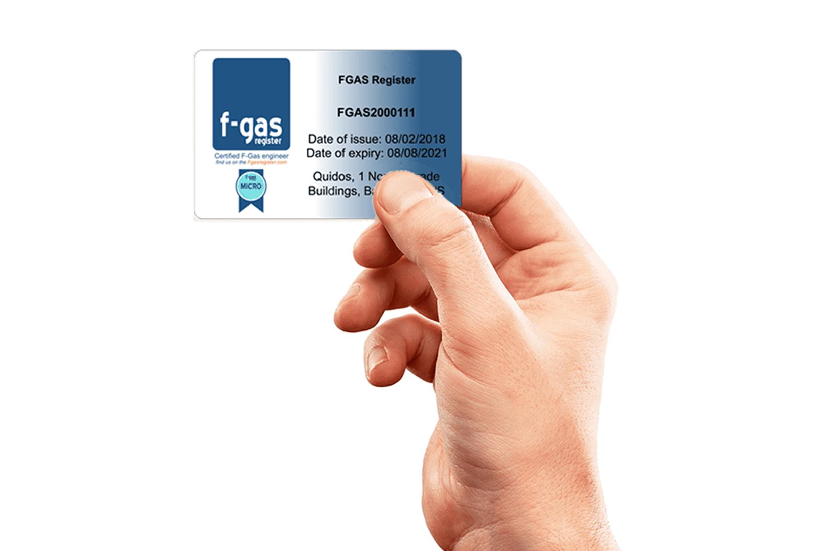 f-gas card hand